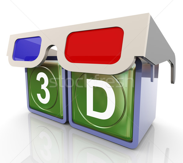3d glasses with 3d text Stock photo © nasirkhan