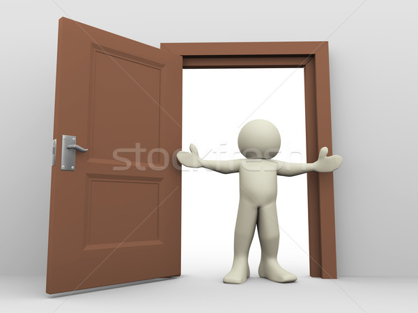 Stock photo: 3d man and open door