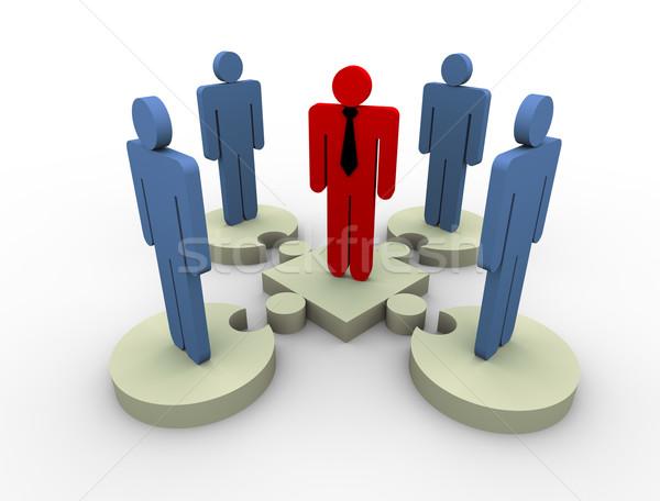 Сток-фото: 3D · лидера · команда · 3d · визуализации · человека · член