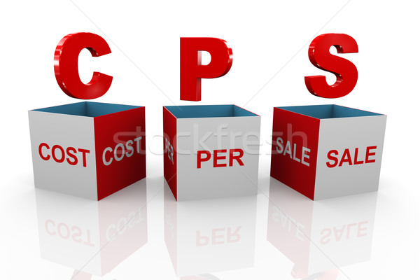 3d box of cps - cost per sale Stock photo © nasirkhan