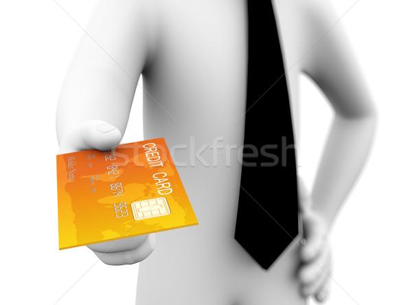 Stock fotó: 3D · üzletember · hitelkártya · ajánlat · illusztráció · renderelt · kép