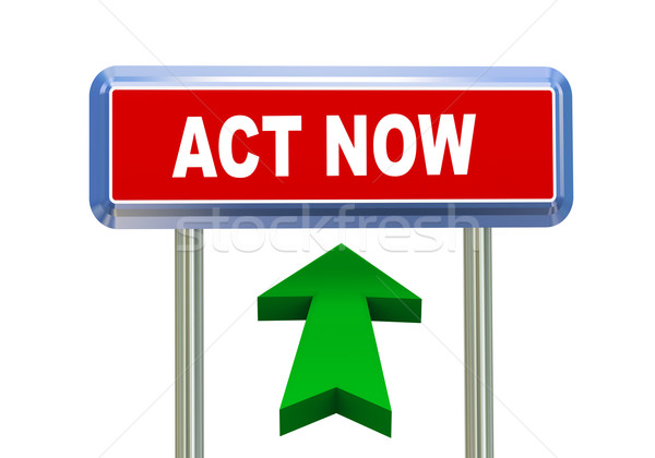 Stock photo: 3d arrow road sign - act now