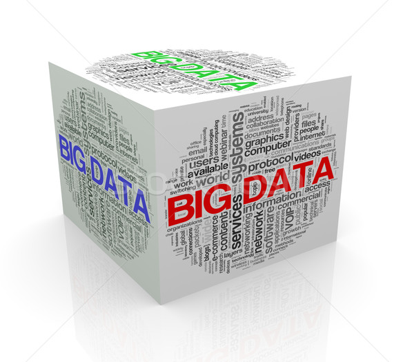 3d cube word tags wordcloud of big data Stock photo © nasirkhan