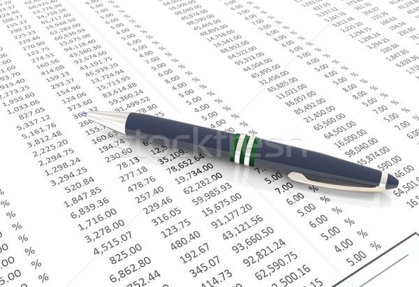 Pióro finansowych papieru 3D arkusz kalkulacyjny tabeli Zdjęcia stock © nasirkhan