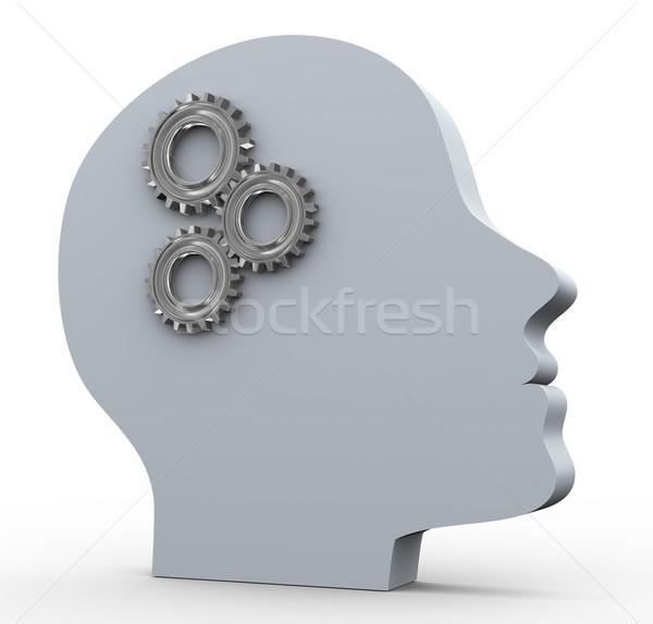 Stockfoto: Dacht · procede · 3d · render · menselijke · hoofd · versnelling