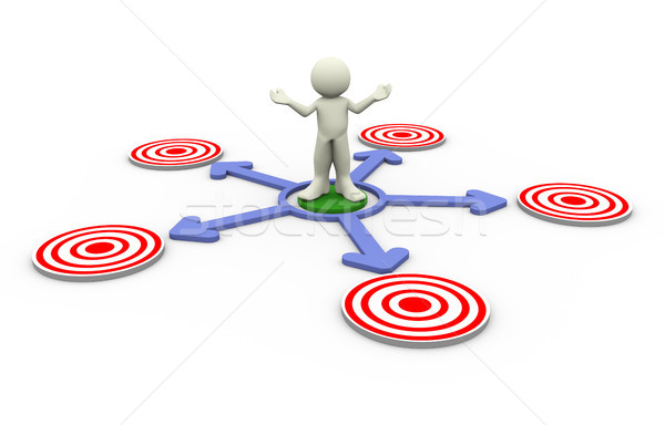 3d man confusion about target Stock photo © nasirkhan