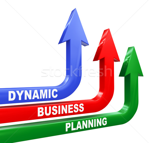 3d dynamic business planning arrows Stock photo © nasirkhan