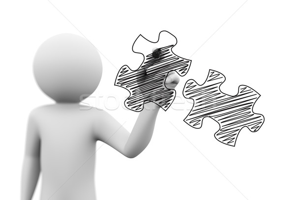 3d person drawing scribble puzzle pieces on transparent screen Stock photo © nasirkhan