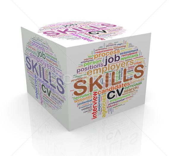Stockfoto: 3D · kubus · woord · vaardigheden