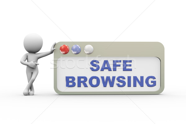 3d man with safe  browser Stock photo © nasirkhan