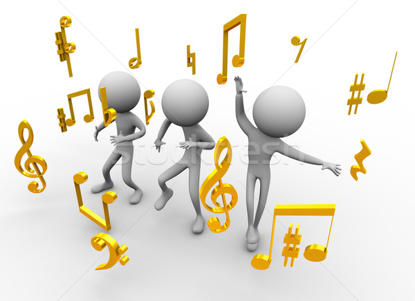 Dancing with music notes Stock photo © nasirkhan