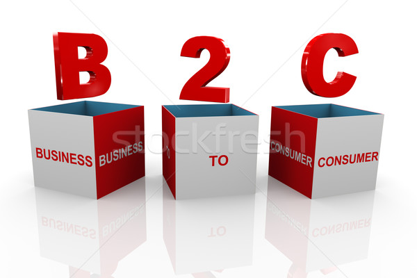 3d box of b2c - business to consumers Stock photo © nasirkhan