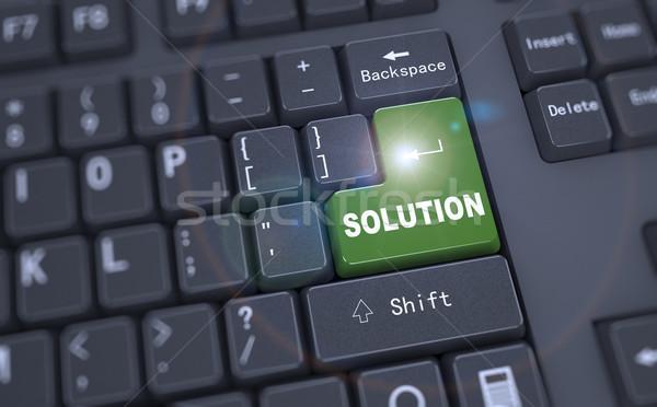 Foto stock: 3D · teclado · palavra · solução · preto