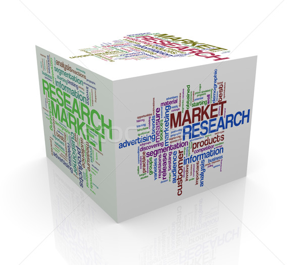 3d cube word tags wordcloud of market research Stock photo © nasirkhan