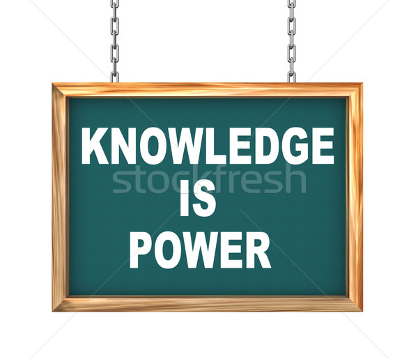 3d hanging banner - knowledge is power Stock photo © nasirkhan