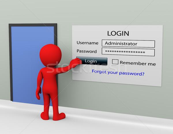 3d man parola giriş güvenli kullanıcı Stok fotoğraf © nasirkhan