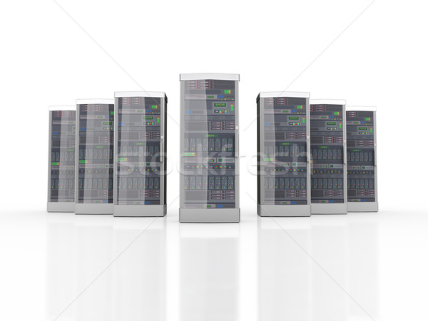 3d set of powerful computer network servers  Stock photo © nasirkhan