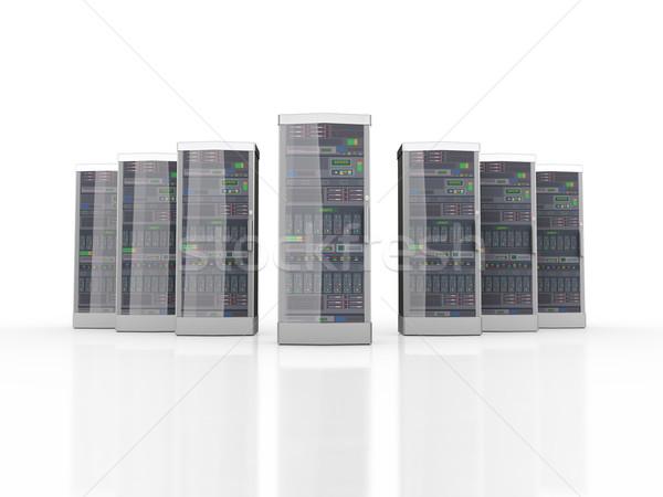 3D szett erőteljes számítógép hálózat szerverek Stock fotó © nasirkhan