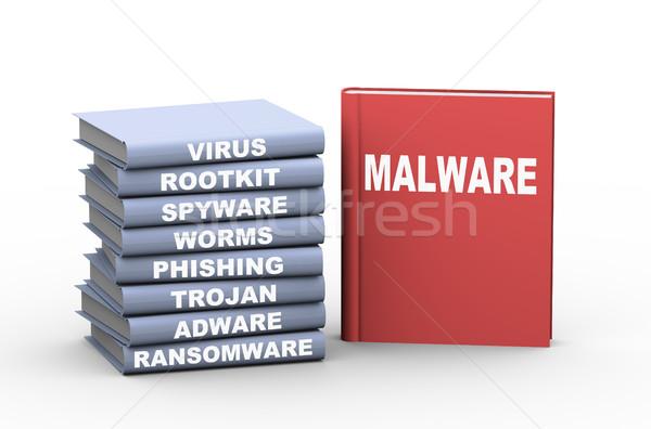 3D malware könyvek renderelt kép mutat különböző Stock fotó © nasirkhan