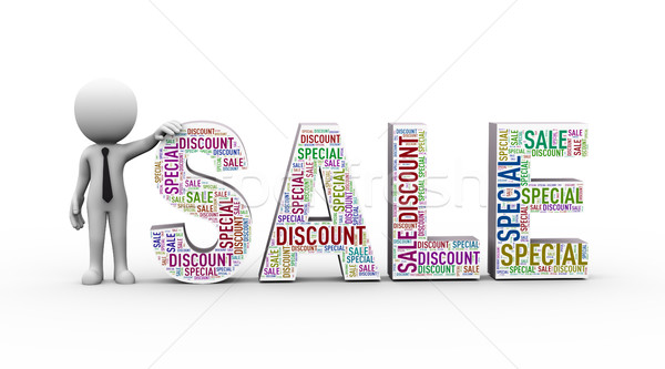 3d man with sale special discount wordcloud Stock photo © nasirkhan