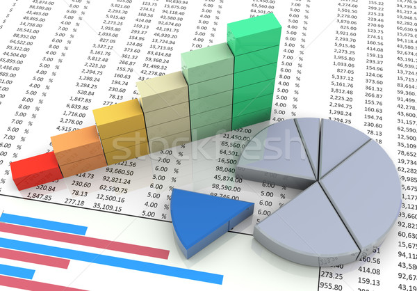 3d pie and progressbar chart Stock photo © nasirkhan