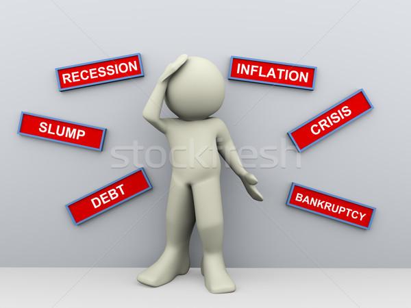 3d man with crisis words Stock photo © nasirkhan