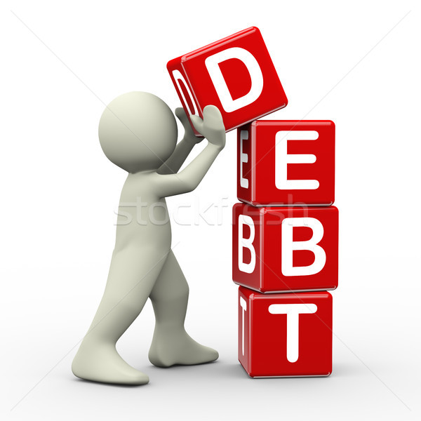 3d man placing debt cubes Stock photo © nasirkhan