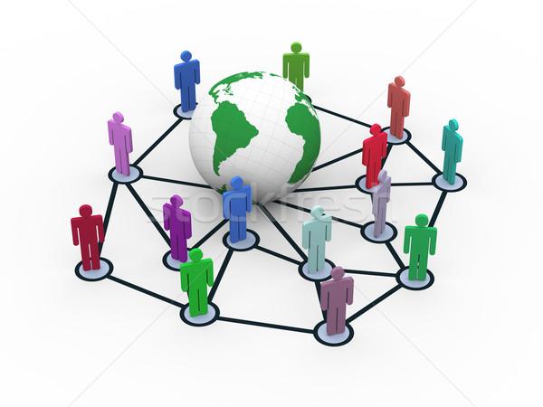 3D sieci ludzi około świecie Zdjęcia stock © nasirkhan