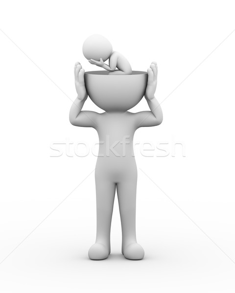 3d open head depressed sad person  Stock photo © nasirkhan