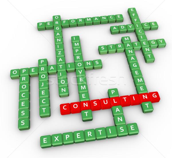 кроссворд Consulting 3d визуализации слово окна письме Сток-фото © nasirkhan
