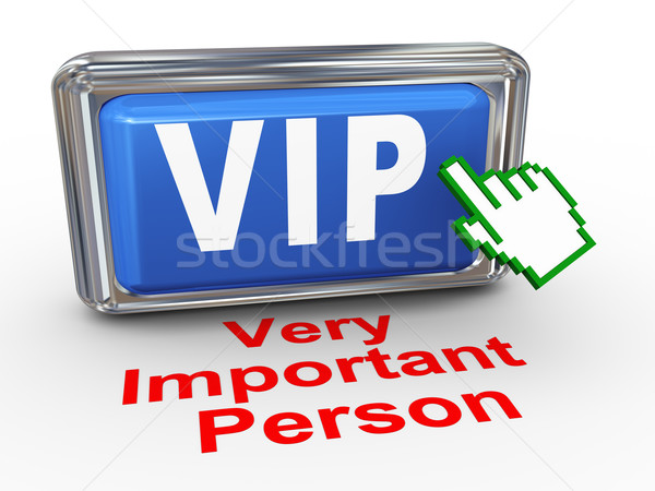 Stock photo: 3d hand cursor - vip button
