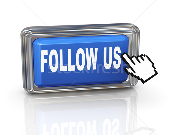 3d hand cursor button - follow us Stock photo © nasirkhan
