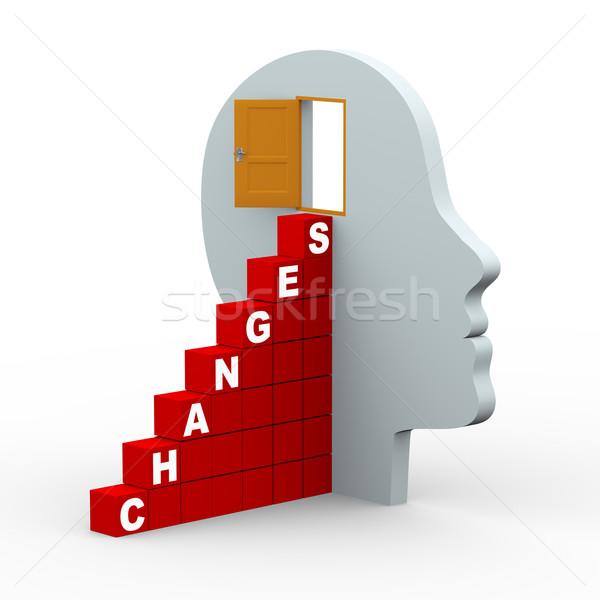 3d changes human head with open door Stock photo © nasirkhan