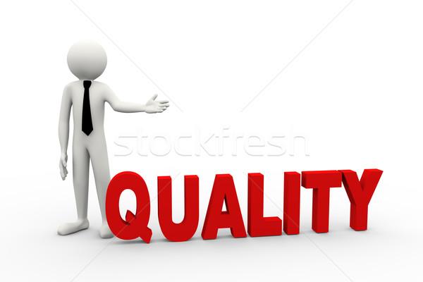 3D zakenman woord kwaliteit Stockfoto © nasirkhan