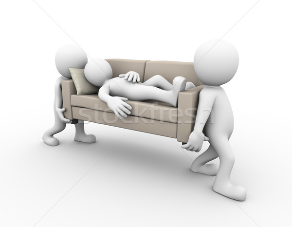 3d pessoas sofá adormecido homem 3D Foto stock © nasirkhan