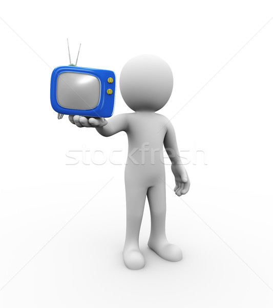 3d man holding tv on hand Stock photo © nasirkhan