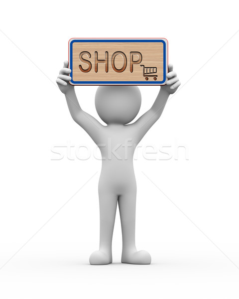 3d man holding engraved banner word text shop Stock photo © nasirkhan
