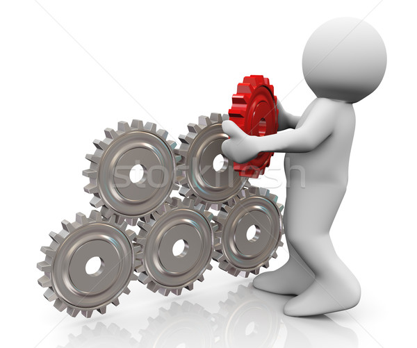 3d man and gear pyramid Stock photo © nasirkhan