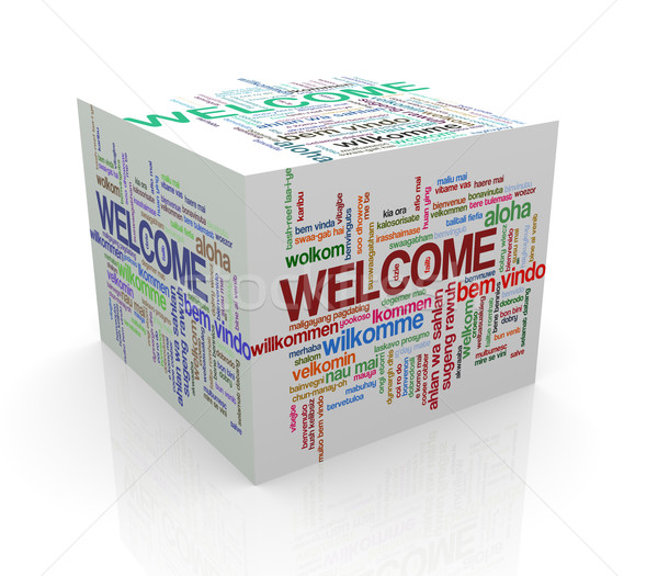 3d cube word tags wordcloud of welcome Stock photo © nasirkhan