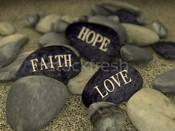 3D ciottolo sabbia messaggio amore fede Foto d'archivio © nasirkhan