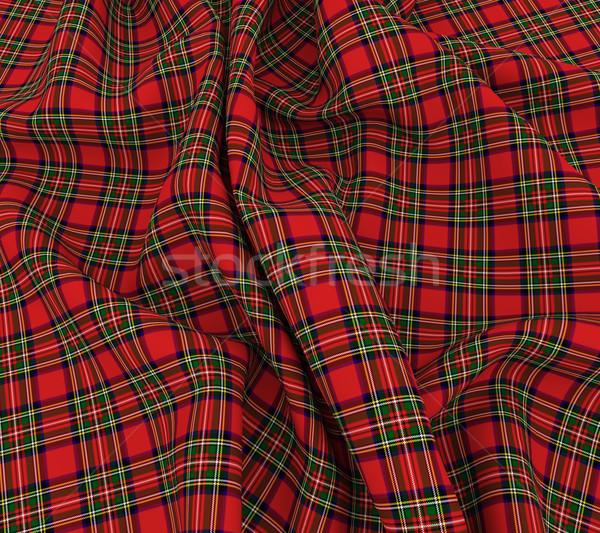 3d bright Scottish tartan plaid fabric cloth Stock photo © nasirkhan