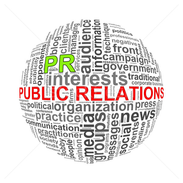 Wordcloud word tags ball of public relations Stock photo © nasirkhan