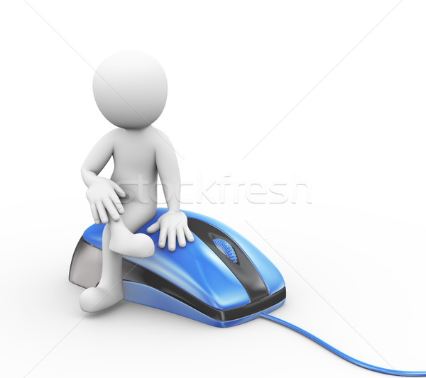 3d man sitting on computer mouse device Stock photo © nasirkhan