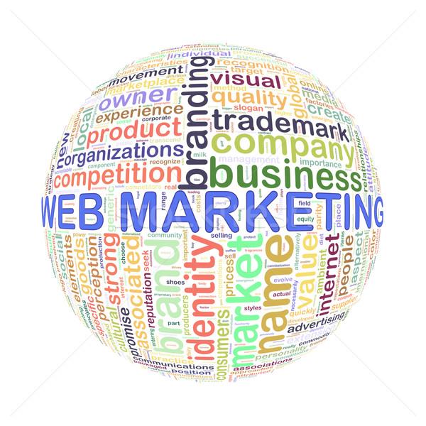 Wordcloud word tags ball of web marketing Stock photo © nasirkhan