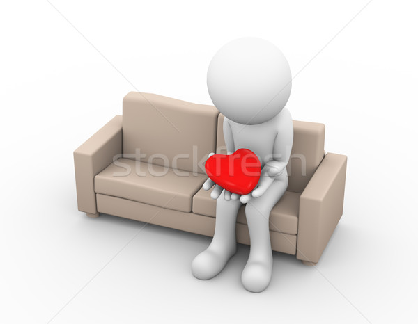 3d sad loser lover holding heart Stock photo © nasirkhan