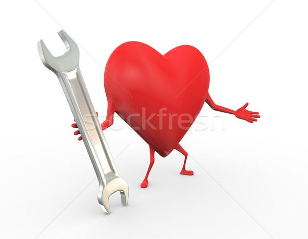 3D coeur clé outil Photo stock © nasirkhan