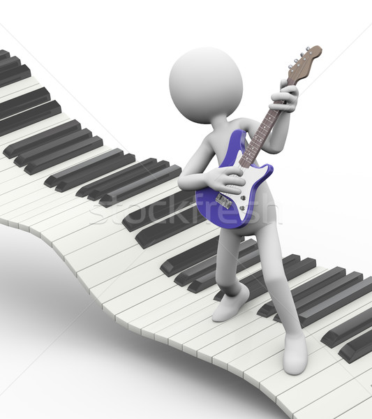 3d electric guitarist on keyboard Stock photo © nasirkhan