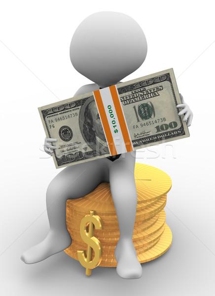 Mężczyzna 3d Dolar opakowanie 3D człowiek biznesu posiedzenia Zdjęcia stock © nasirkhan