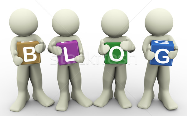 3d people holding word blog Stock photo © nasirkhan