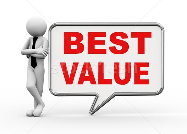 3d businessman with speech bubble - best value Stock photo © nasirkhan